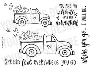 Old Truck - Valentine's Day Coloring Bisque