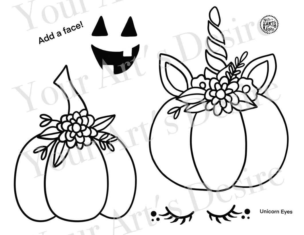 Unicorn and Plain Flower Pumpkin