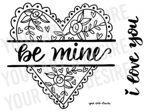 Large Coloring Bisque Heart with Interchangeable Phrases