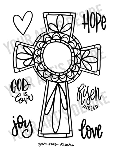 Coloring Book Cross with WORDS