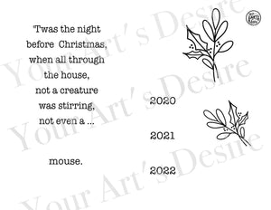 Night Before Christmas with Greenery - print font