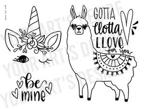 Llama / Unicorn - Valentine's Day Coloring Bisque