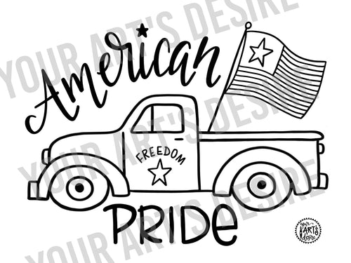 Old Truck with Flag - Coloring Bisque