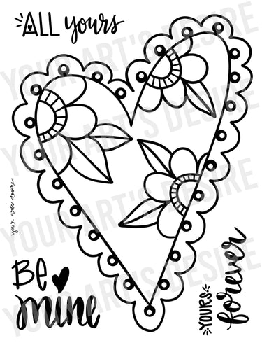 Large Coloring Bisque Floral Heart with Three Phrases