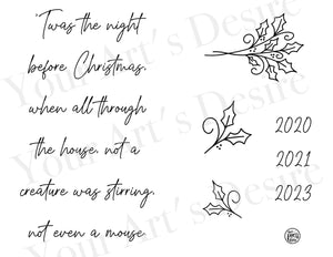 Night Before Christmas with Greenery - cursive font