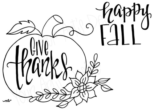 Give Thanks - Happy Fall Pumpkin Silkscreen