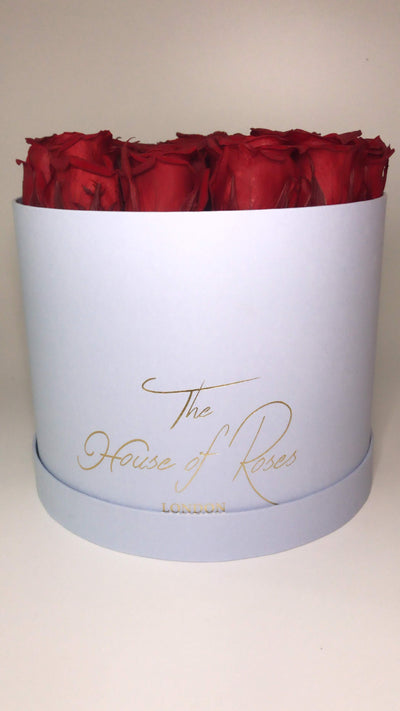 Eternal Rose Hatbox - Blue - The House of Roses London