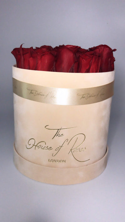 Eternal Rose Hatbox - Suede Peach - The House of Roses London
