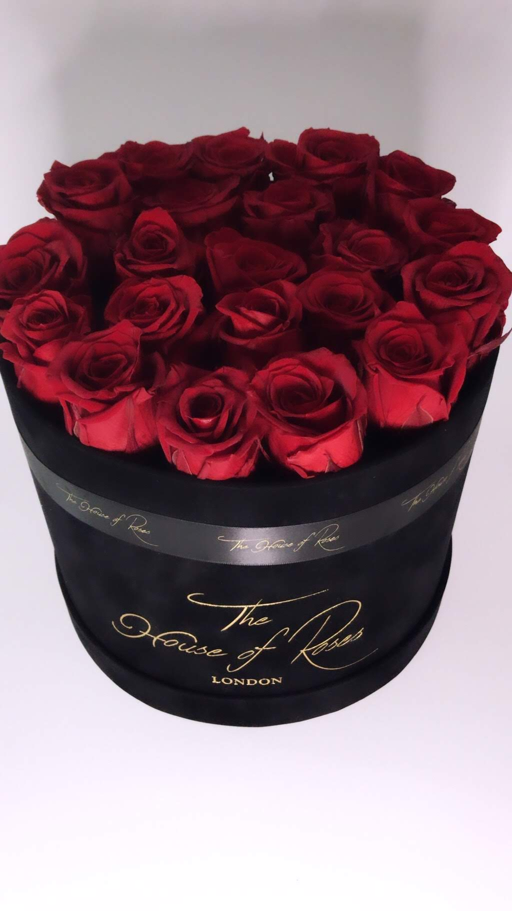 Eternal Rose Hatbox - Suede Black - The House of Roses London