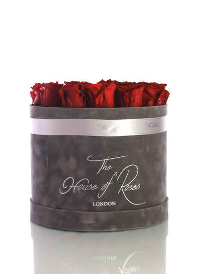 Eternal Rose Hatbox - Suede Grey - The House of Roses London