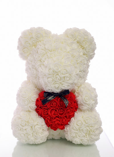 White Rose Bear With Red Heart (40cm)