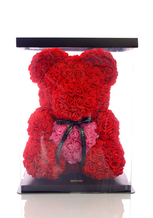 Red Rose Bear With Pink Heart (40cm)