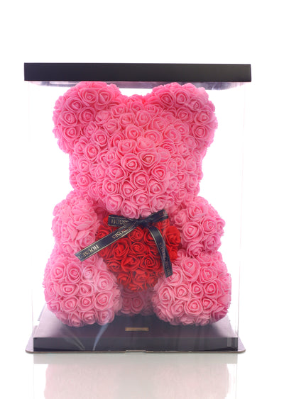Pink Rose Bear With Red Heart (40cm)