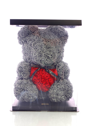 Grey Rose Bear With Red Heart (40cm)