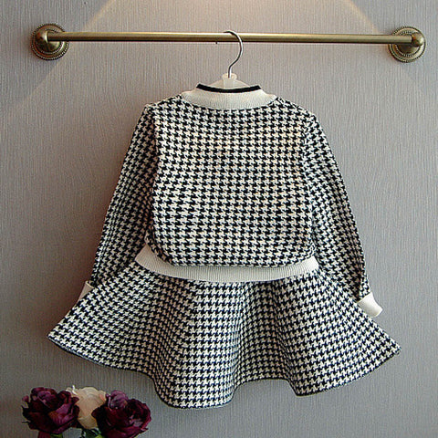 Plaid Knitted Sweater + Skirt Set
