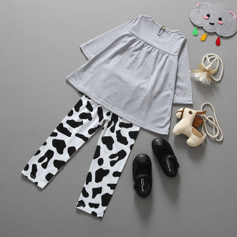 Cotton Cow Pattern Casual Outfit