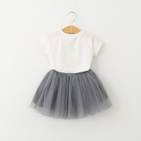 Cat Pattern Shirt Tutu Skirt Set