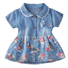Floral Print Bowknot Denim Dress