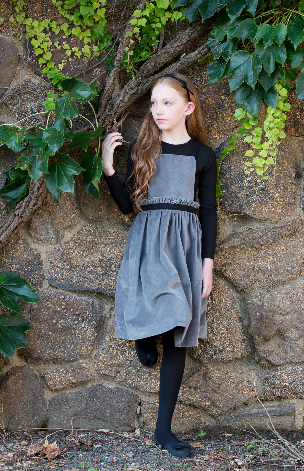 VELVET GREY RUFFLED PINAFORE