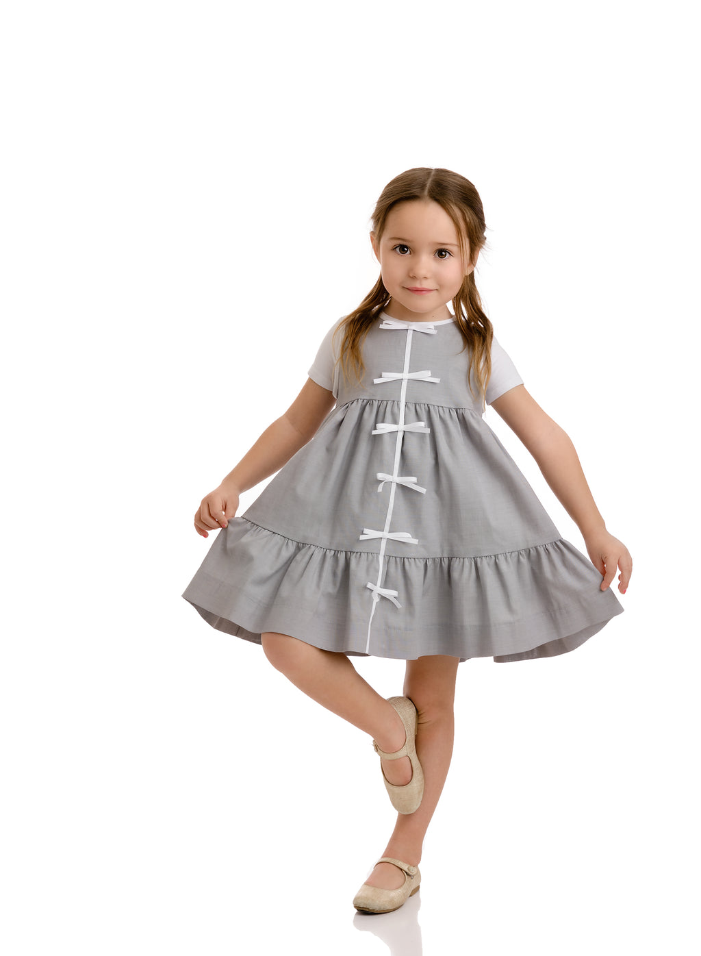 STONE TIERED BOW DRESS