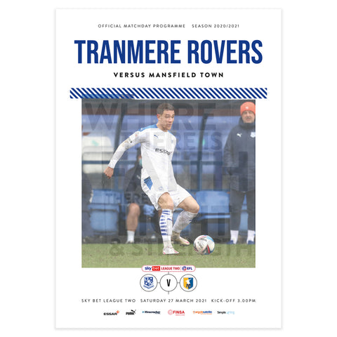 Tranmere Rovers vs Mansfield Town 2020/21 Programme