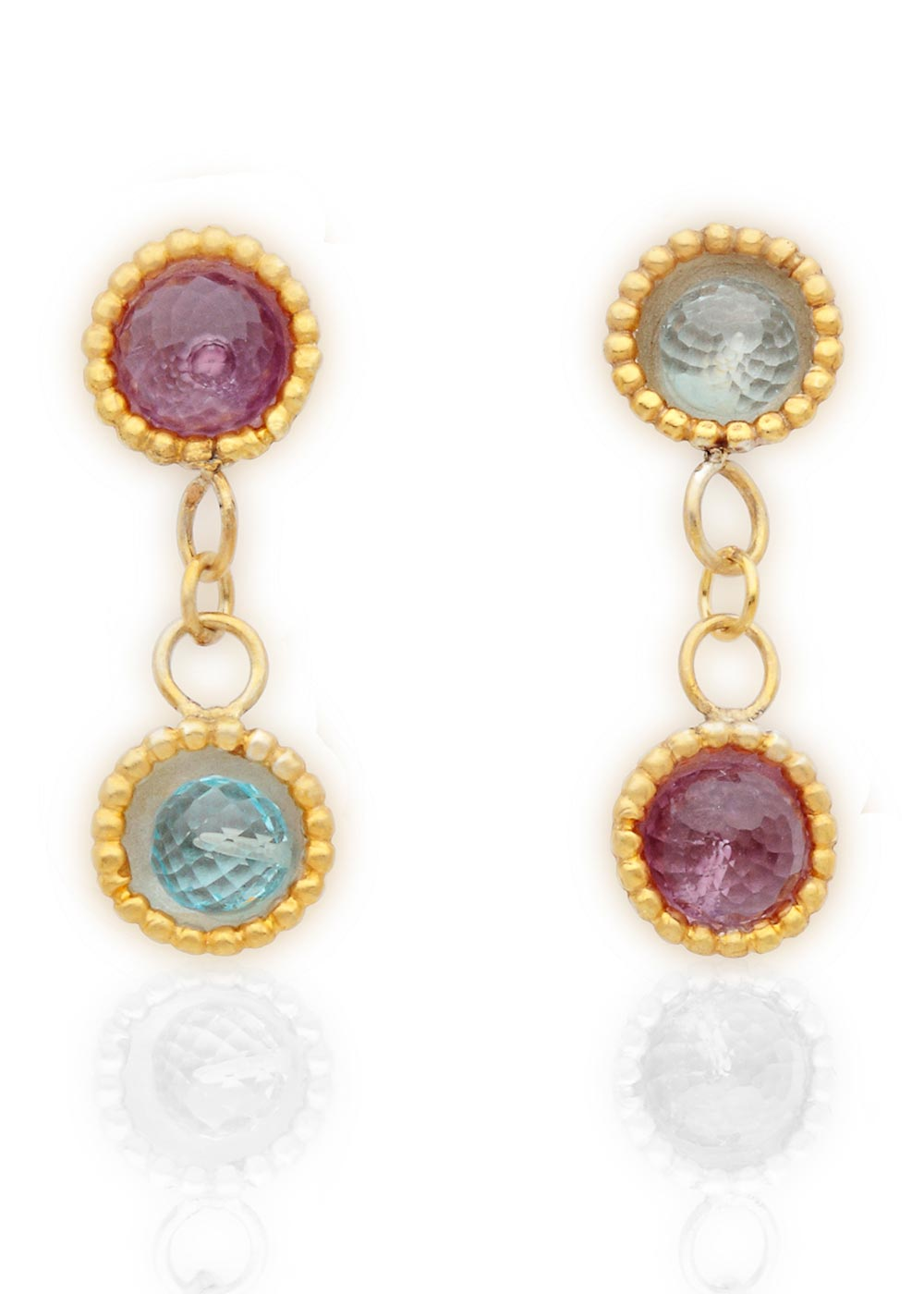 Byzantine 2 drop dome earrings with amethyst & blue topaz