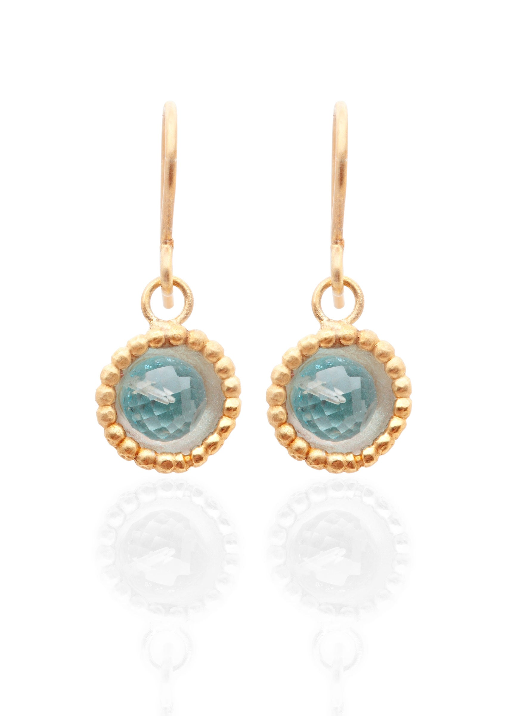 Byzantine dome blue topaz earrings