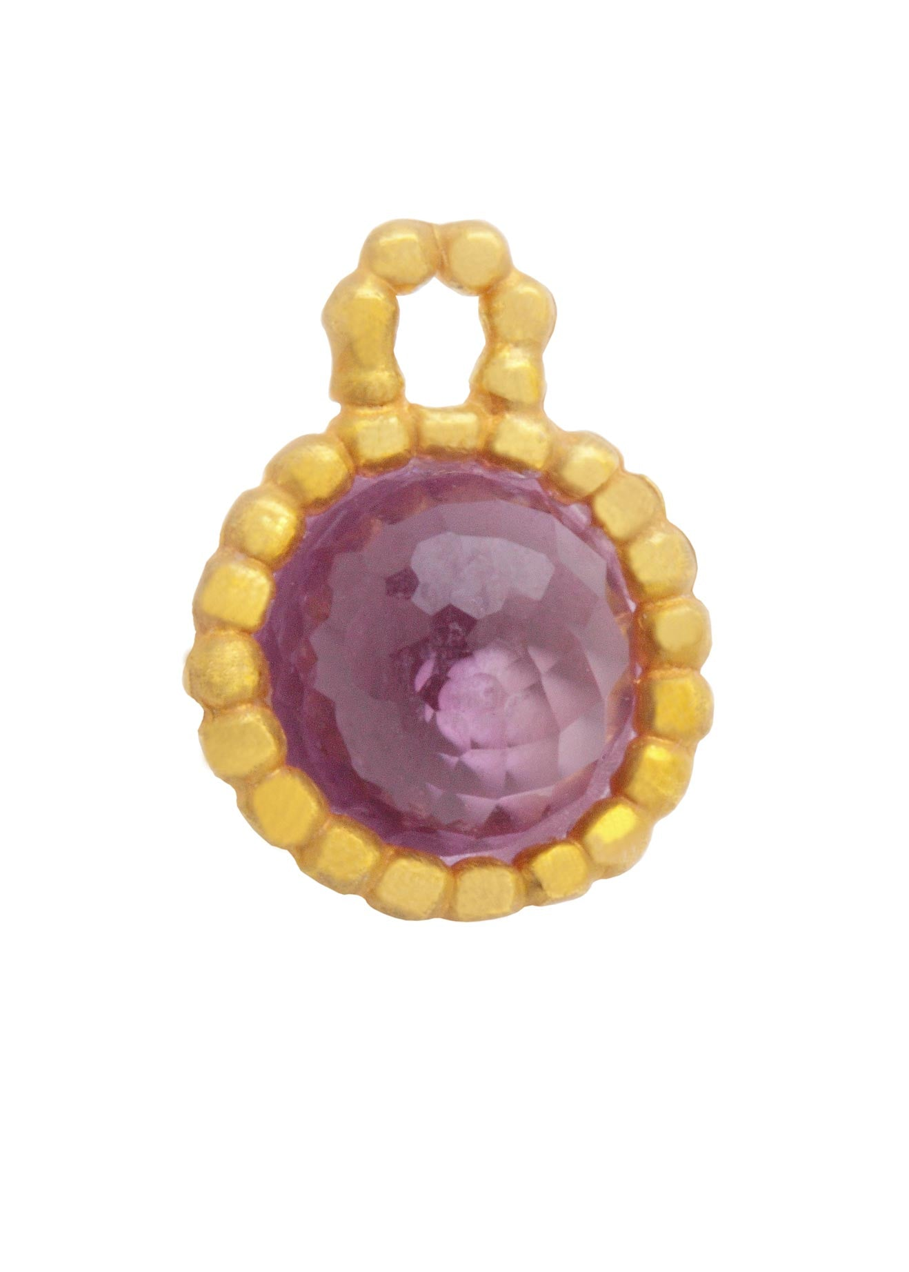 Byzantine hooped earring attachment/gold with amethyst (pair)