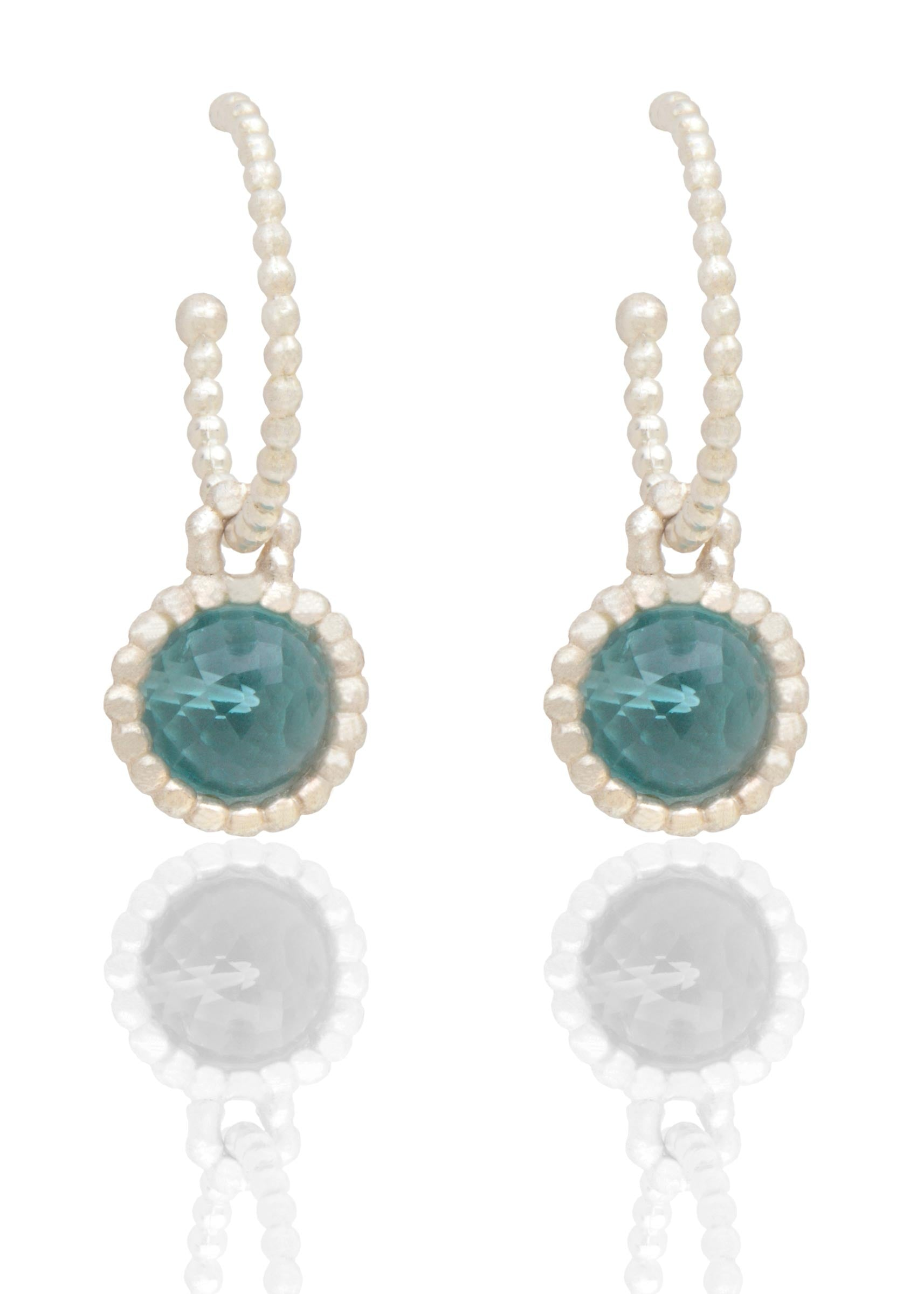 Byzantine silver hooped earrings with blue topaz