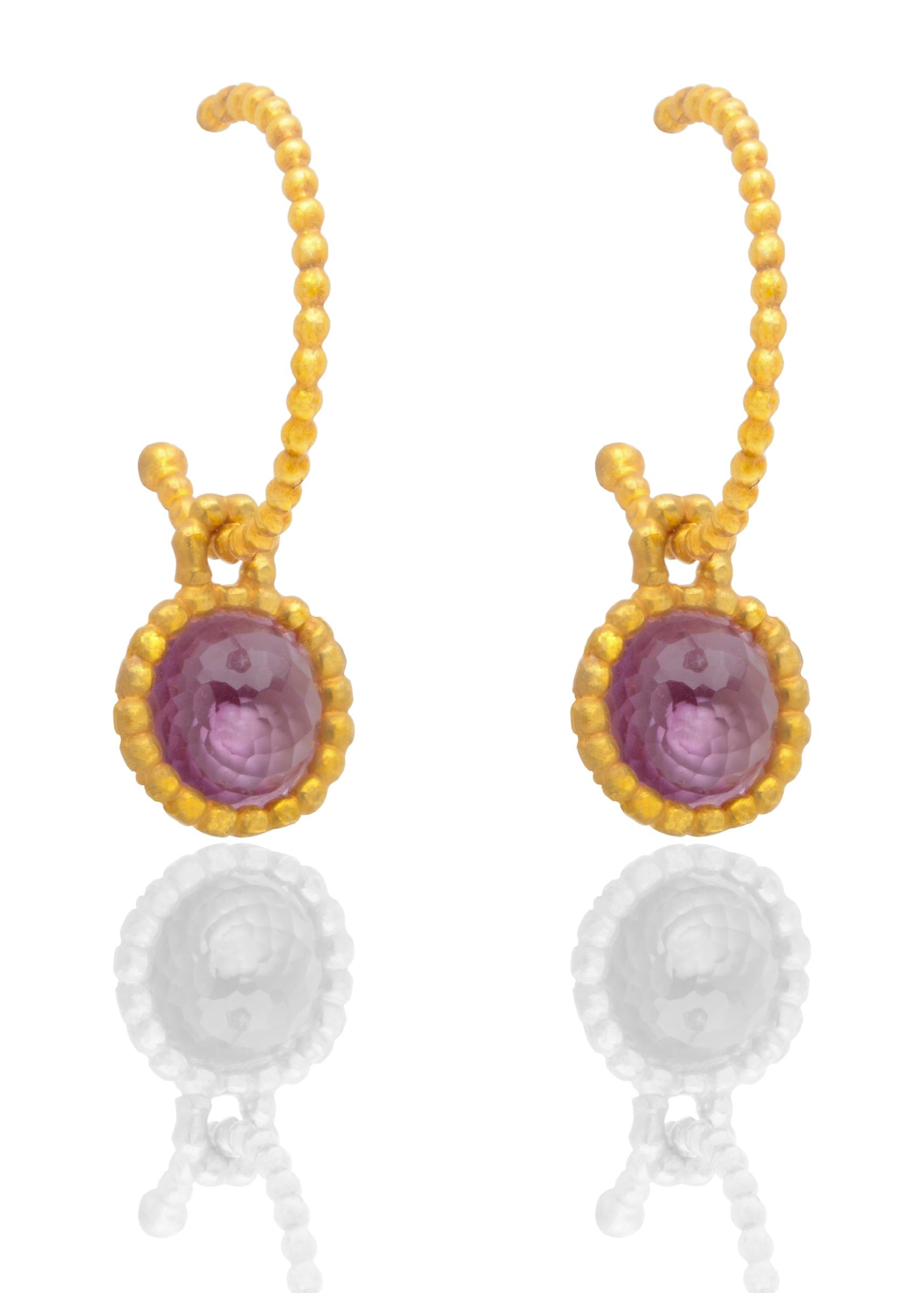 Byzantine gold vermeil hooped earrings with amethysts