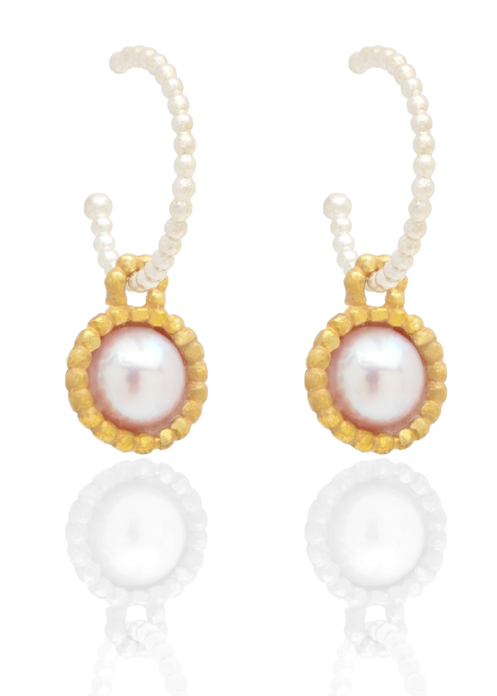Byzantine hooped earrings with pearl drop pendant