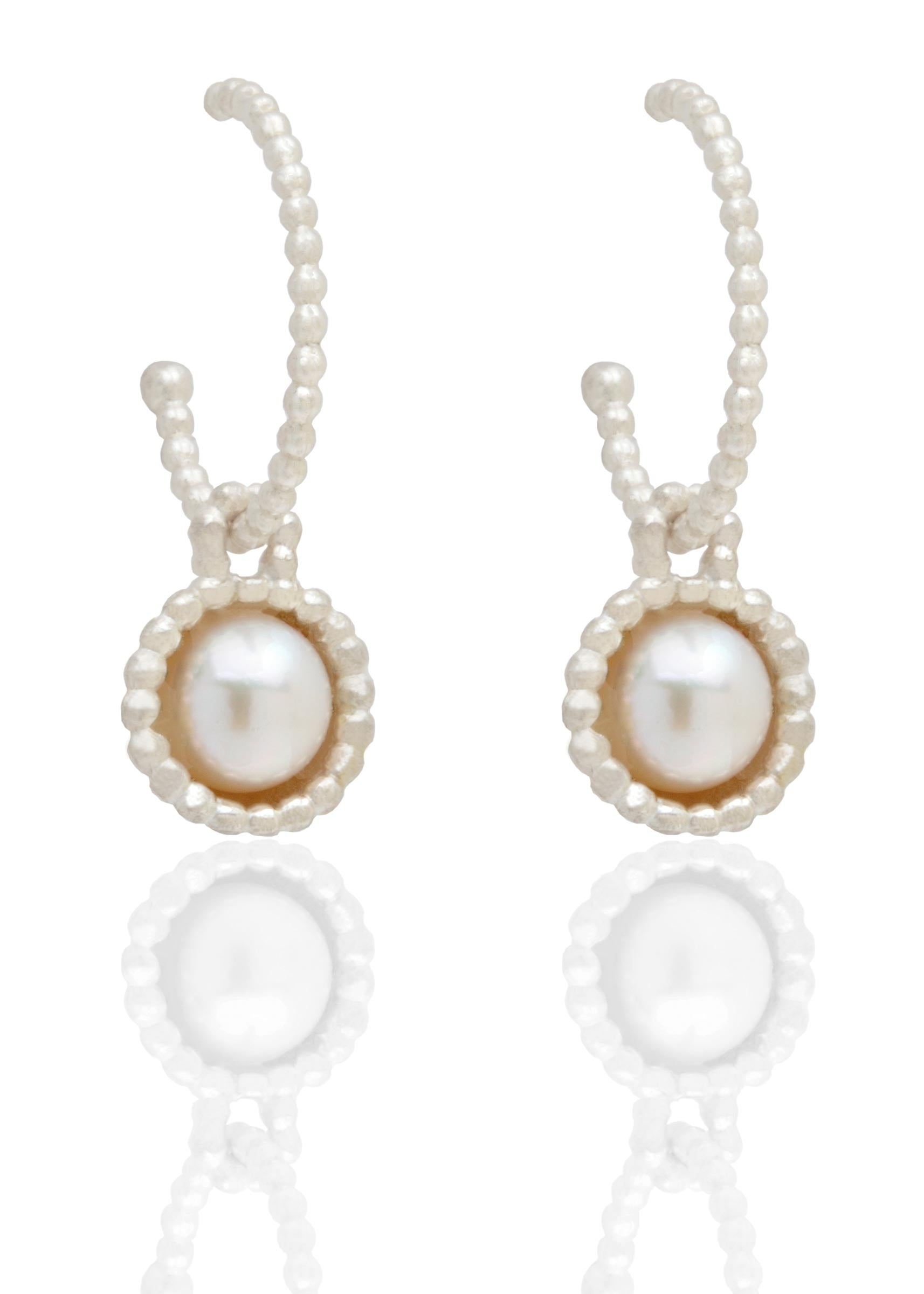 Byzantine silver hooped earrings with ivory pearls