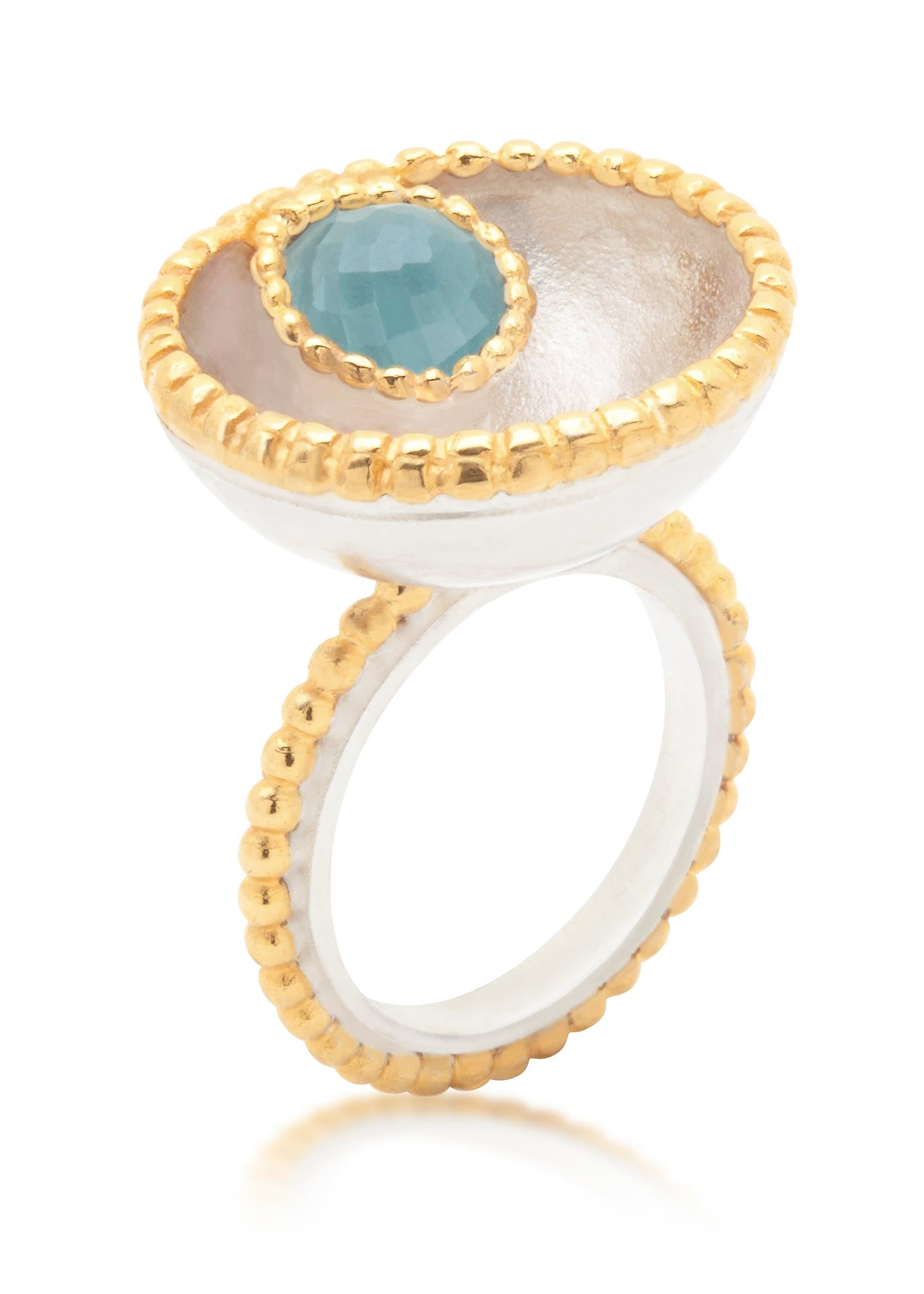 Large Byzantine Ring with gold vermeil and blue topaz