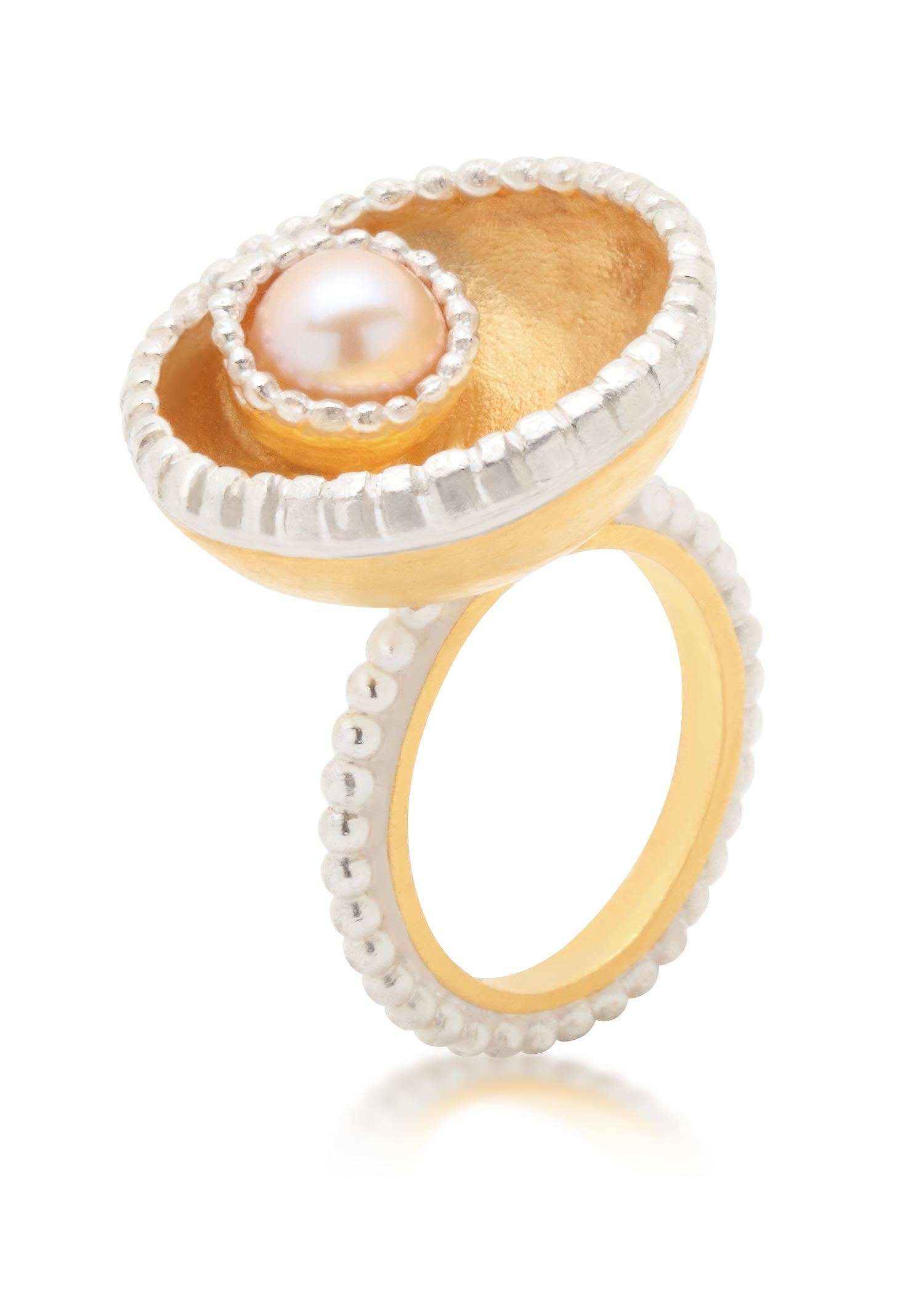 Large Byzantine Ring with gold vermeil and cream freshwater pearl