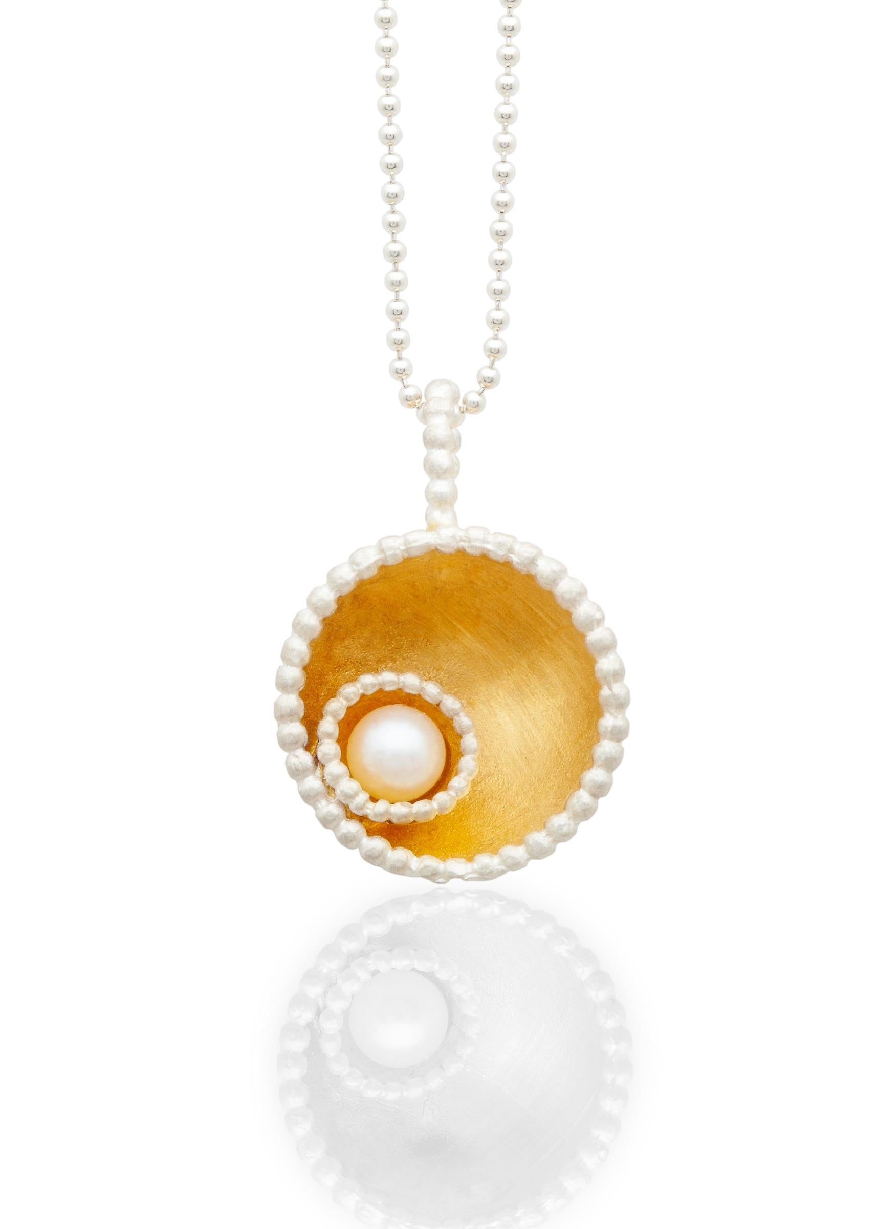 Byzantine dome pendant gold vermeil with pearl
