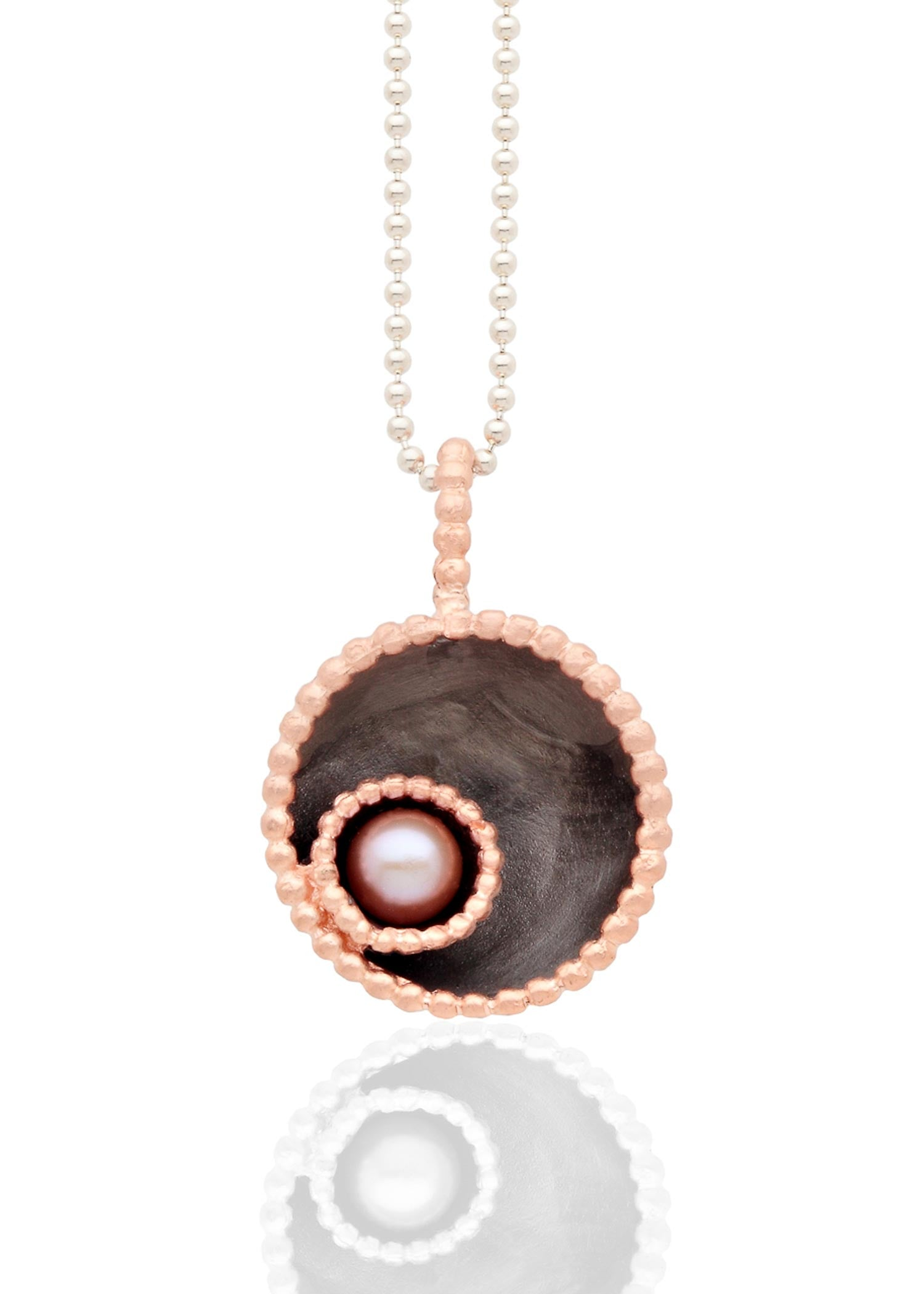 Byzantine dome rhodium pendant with pink pearl