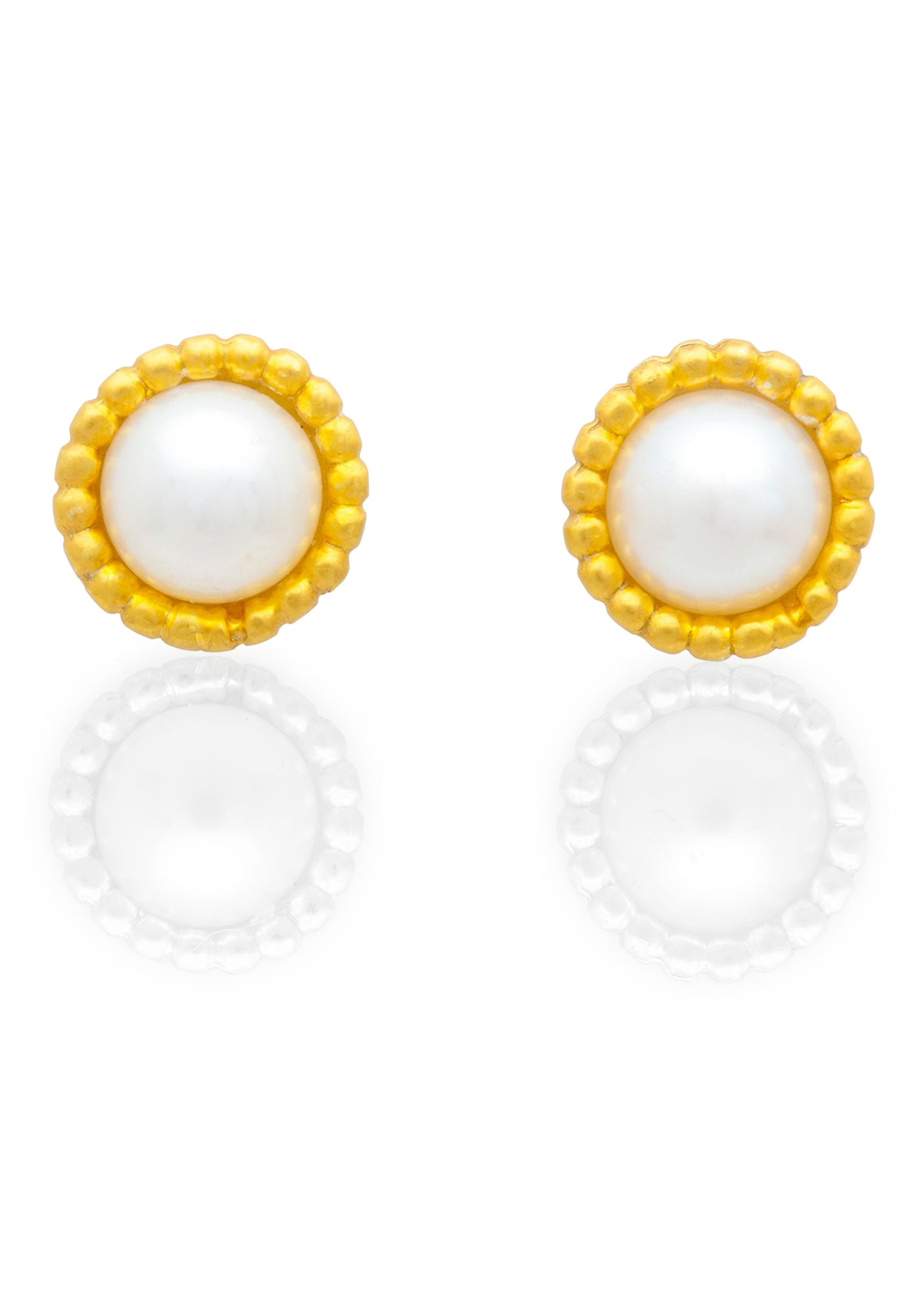 Byzantine domed freshwater pearl stud earrings