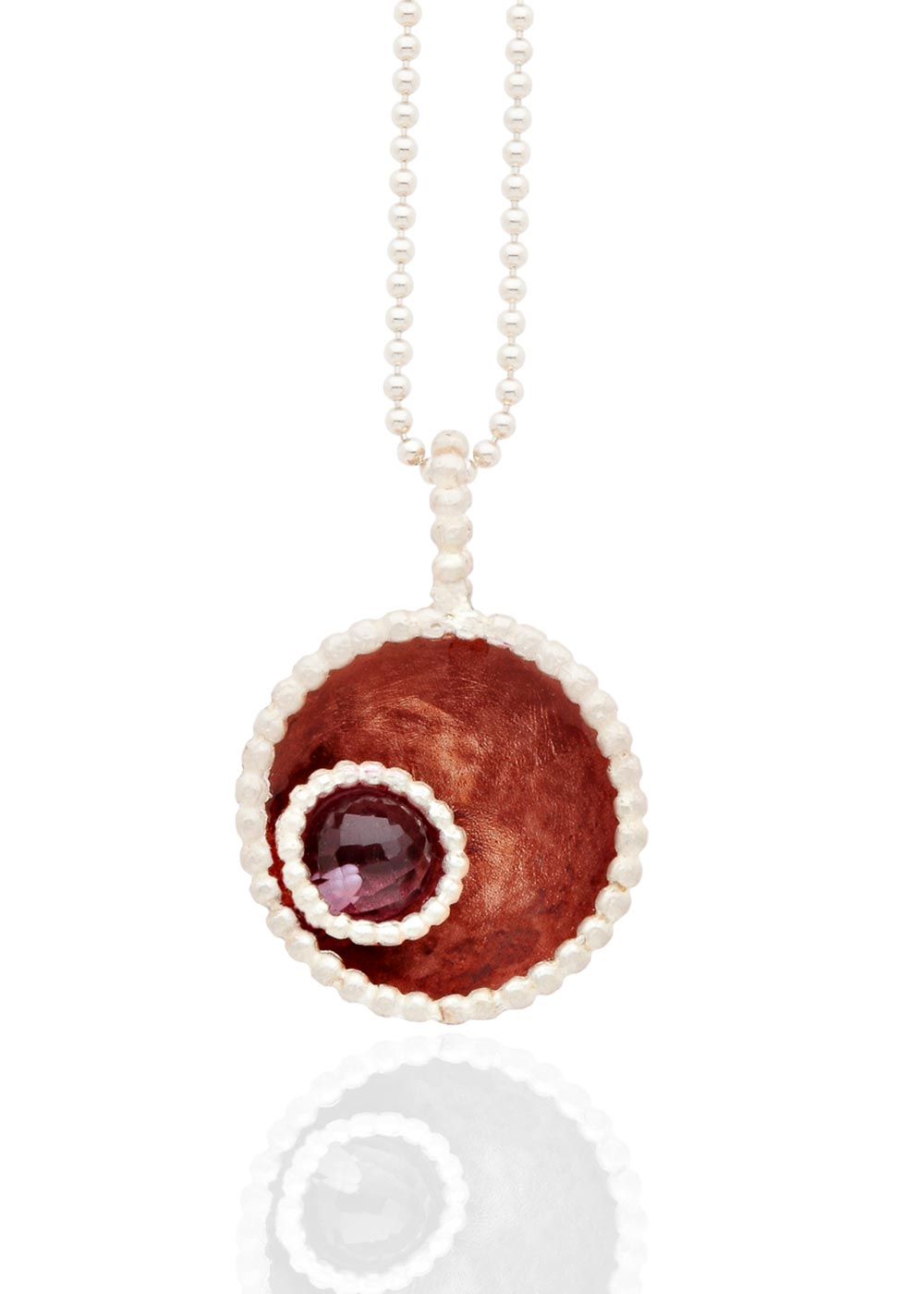 Byzantine rose gold pendant with amethyst