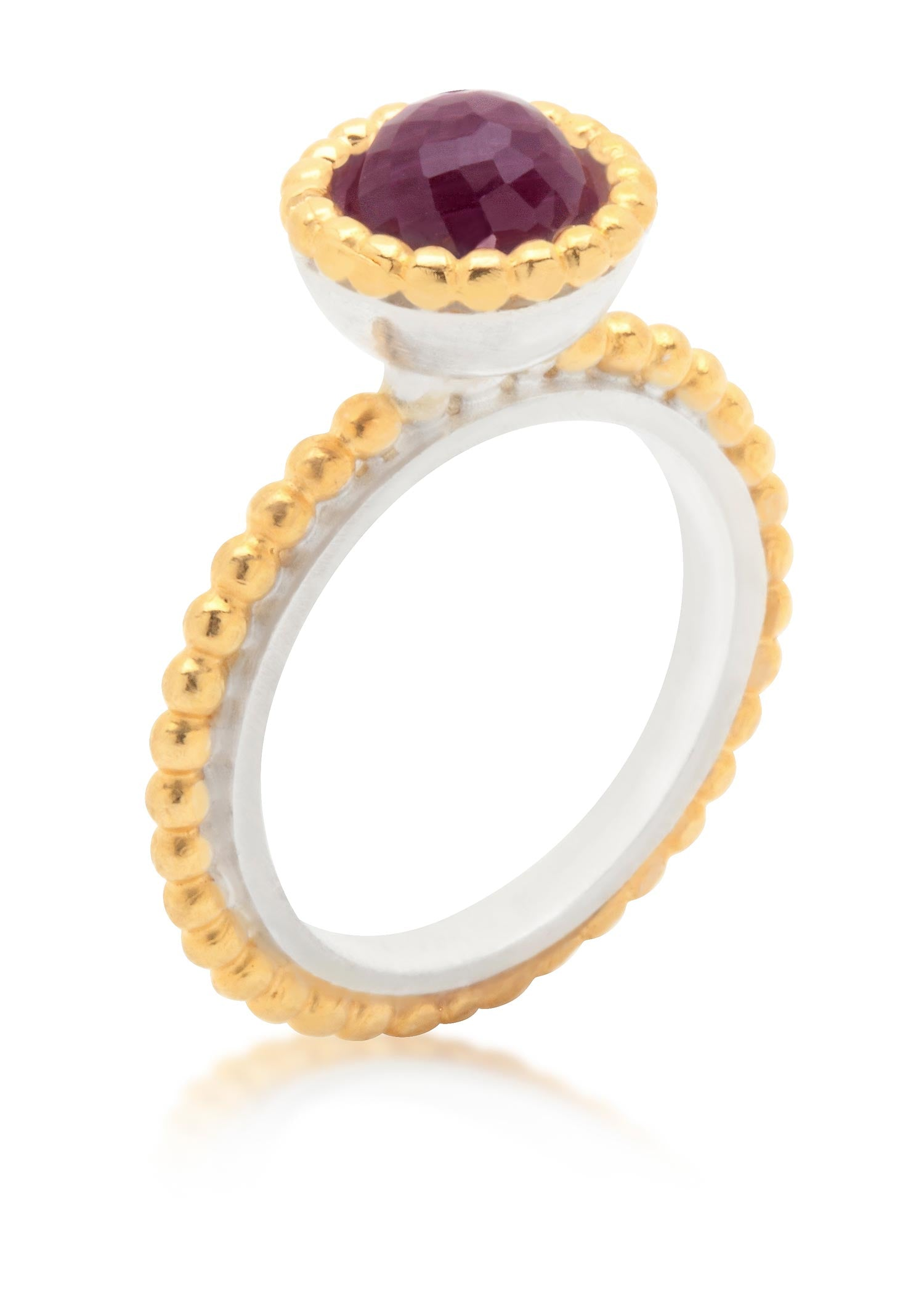Byzantine small gold vermeil ring with amethyst