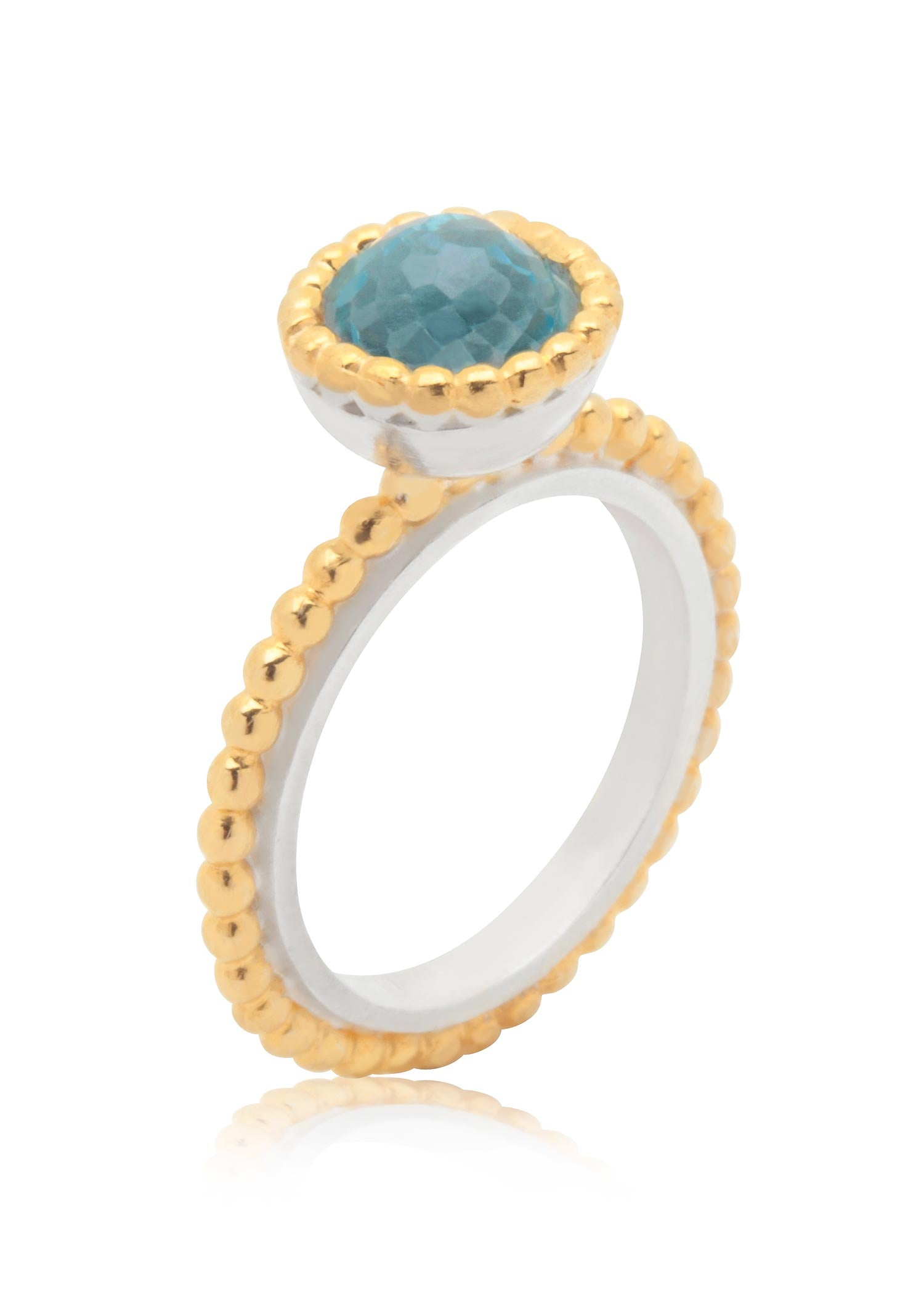 Byzantine small gold vermeil ring with blue topaz