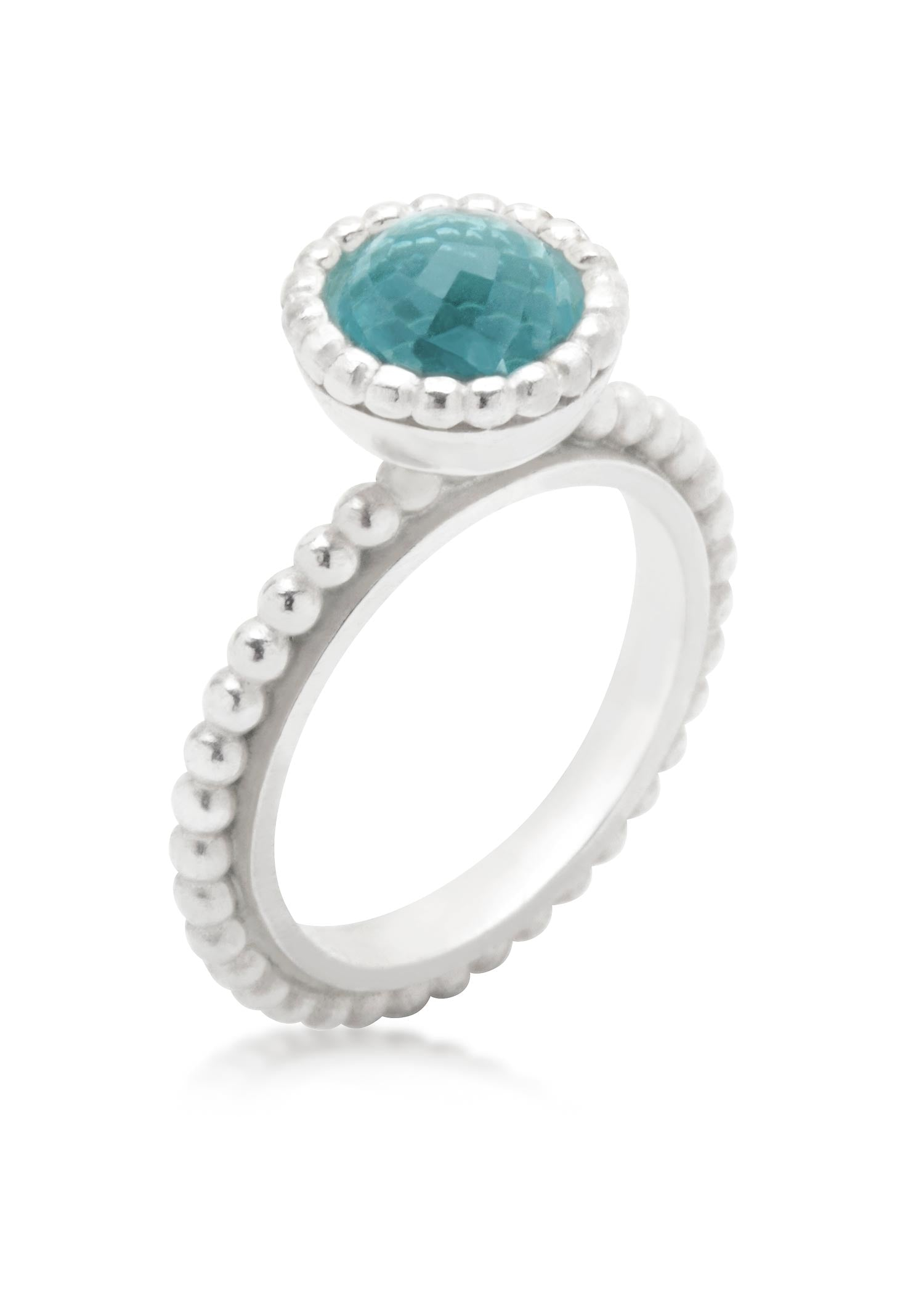 Byzantine small silver ring with blue topaz