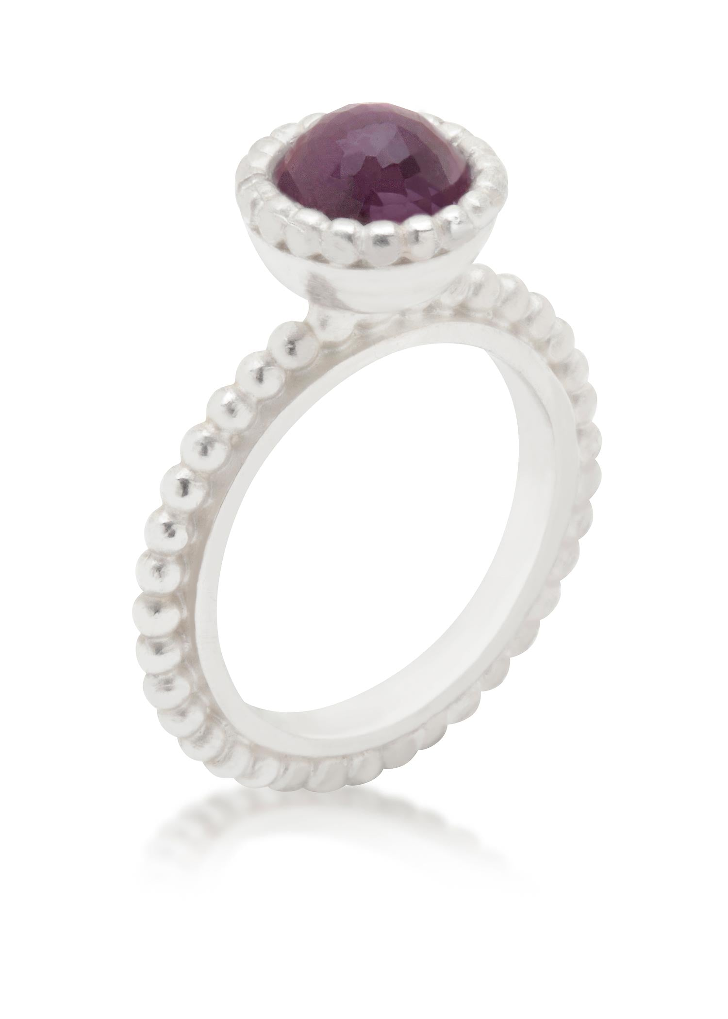 Small Byzantine silver ring with amethyst