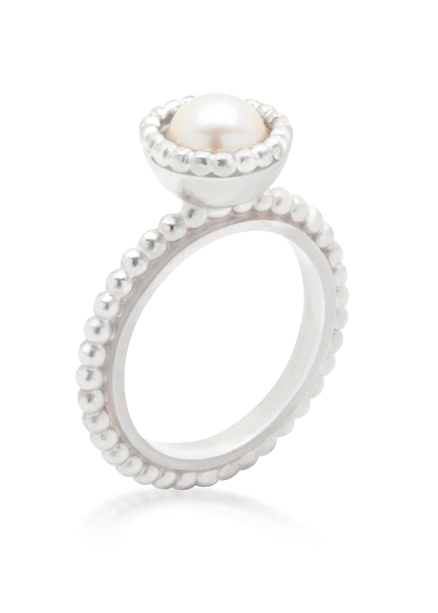 Small Byzantine sterling silver ring with freshwater cream pearl
