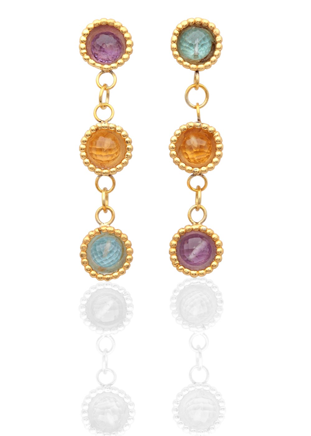 Byzantine 3 drop dome earrings with amethyst, blue topaz & citrine
