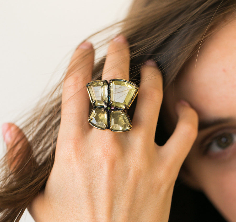 Citrine Mosaic Dark Ring