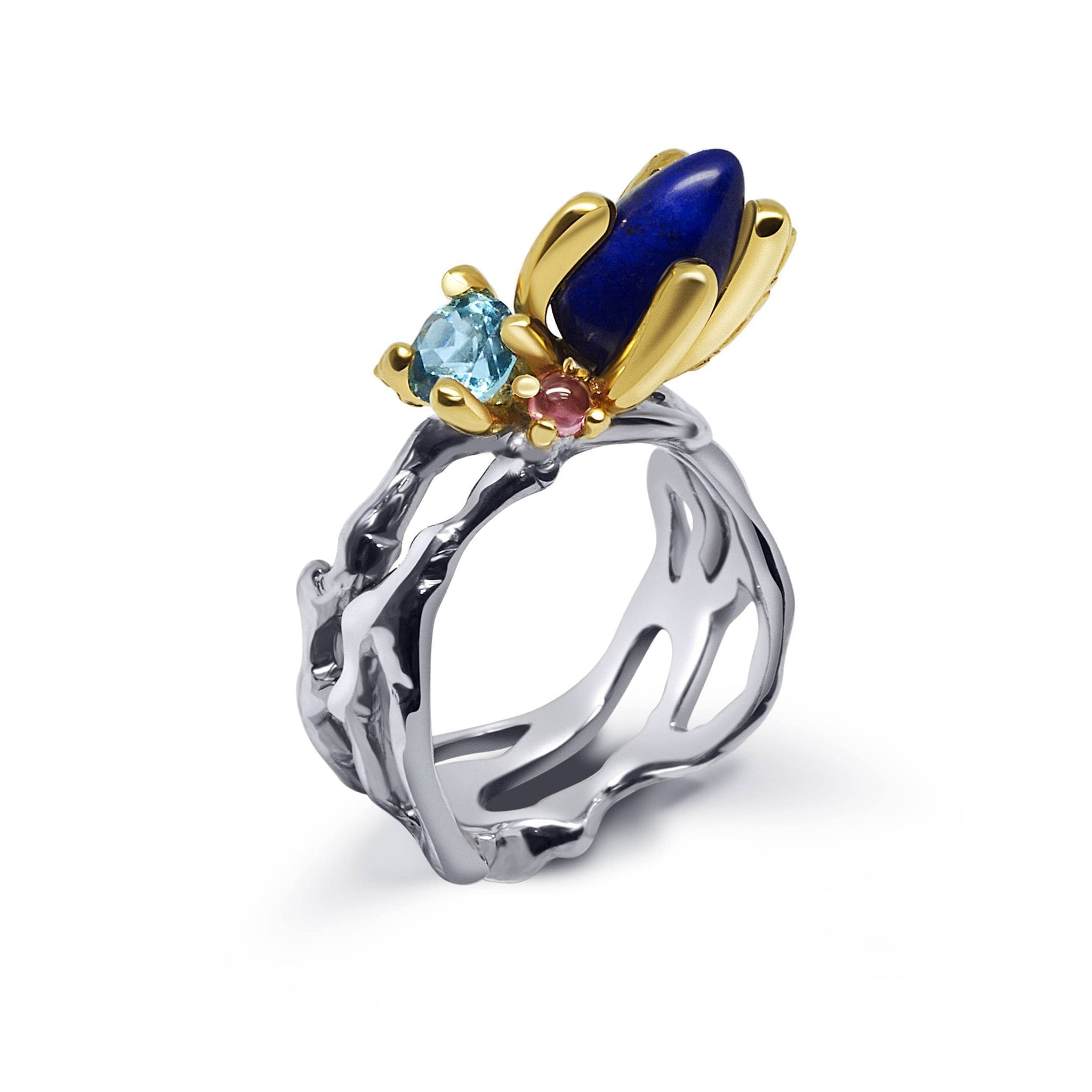 Liana Unique Ring with Lapis Lazuli and Topaz - Rara Jewelry