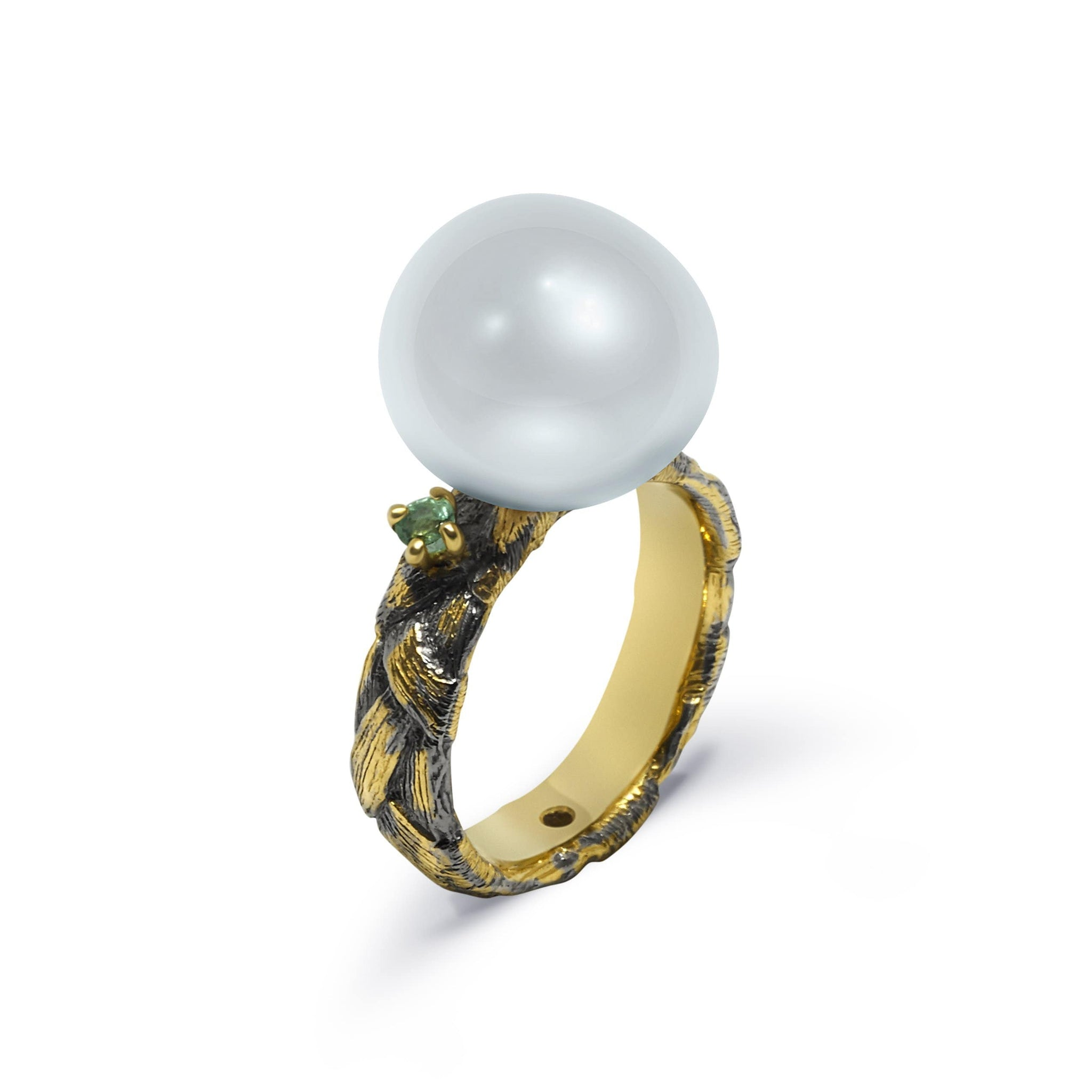 Unique Spica with White Pearl and Two Emeralds - Rara Jewelry