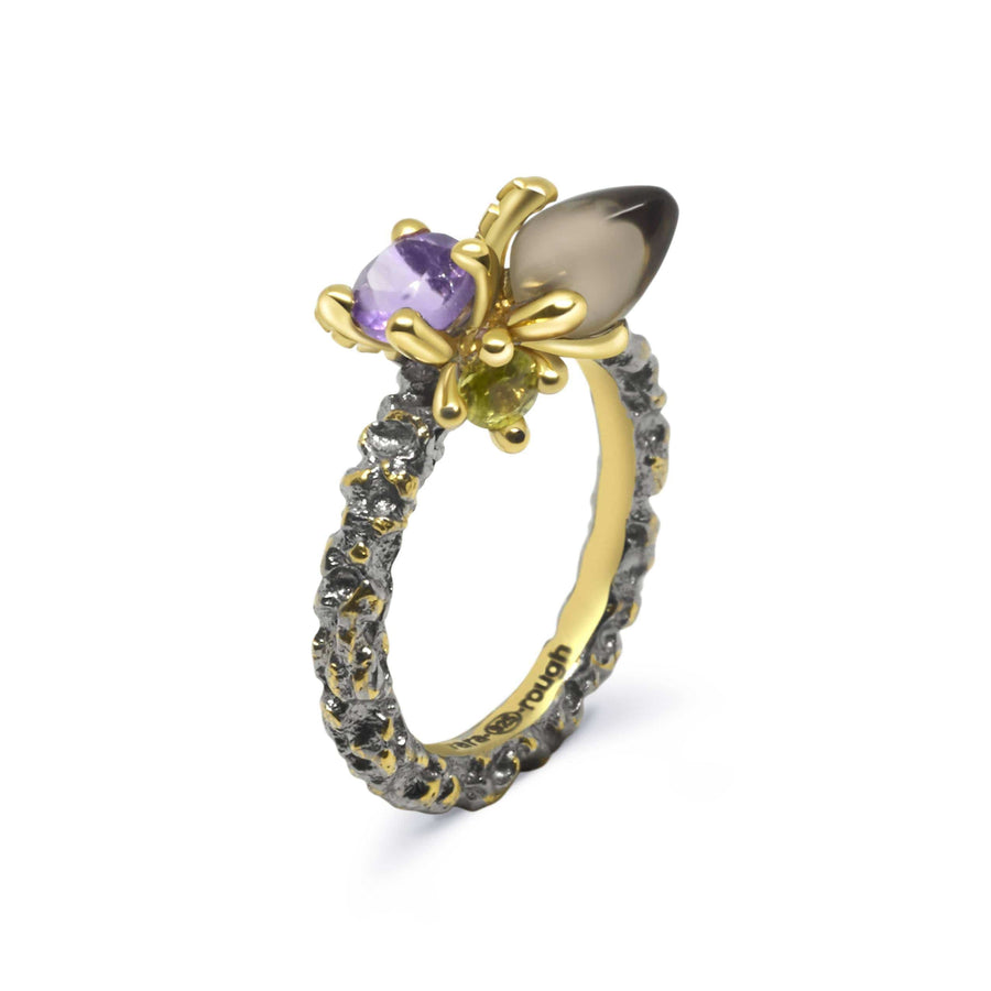 Sierra Unique Ring with Rauch Topaz & Amethyst
