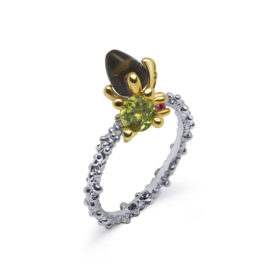 Coral Unique Ring with Rauch Topaz & Peridot