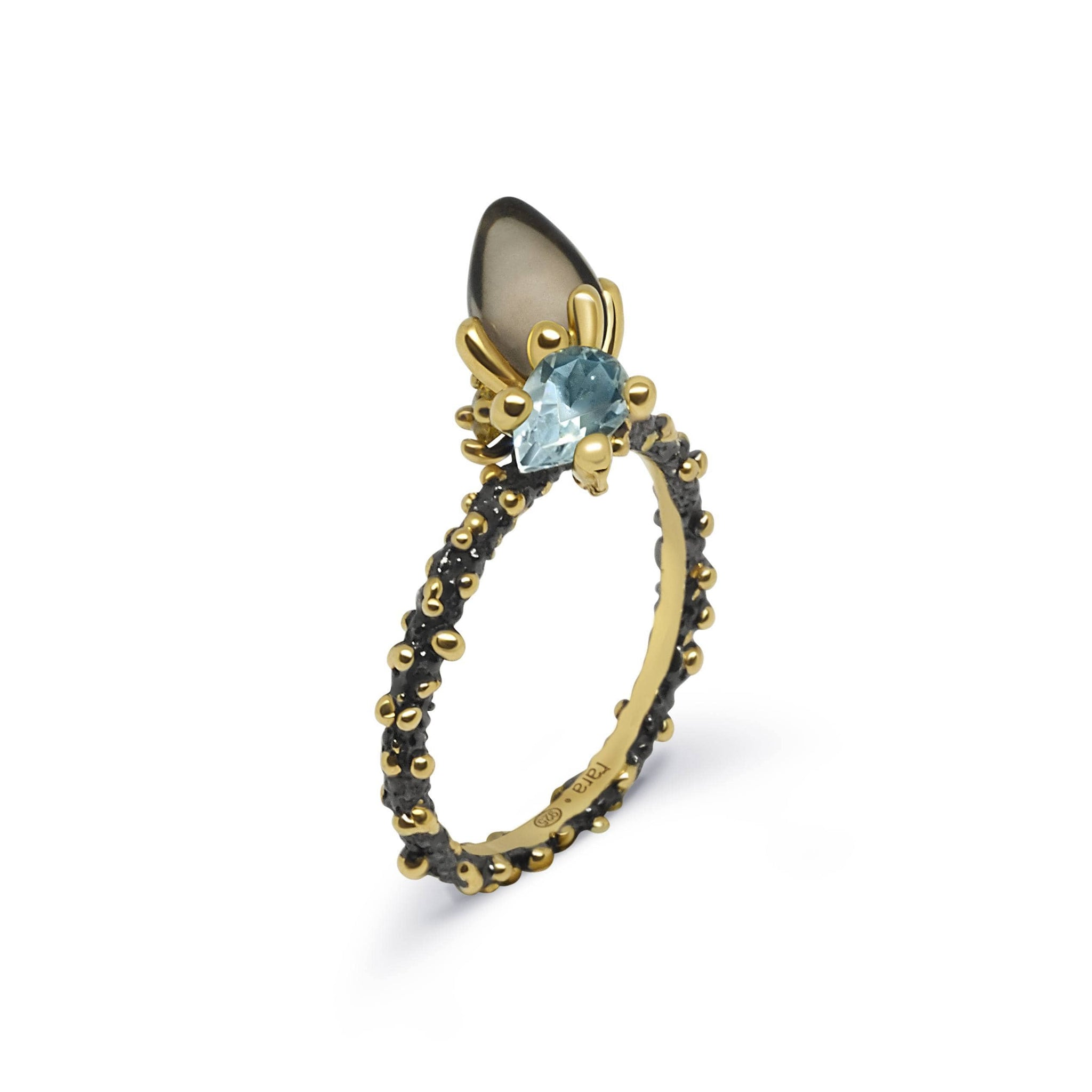 Coral Unique Ring with Rauch Topaz & Topaz - Rara Jewelry